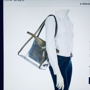 NWT MICHAEL KORS WHITNEY CLEAR TOTE BAG SATCHE